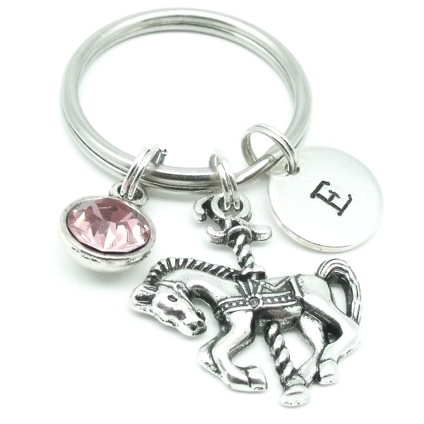 Carousel horse gift keyring personalised initial birthstone
